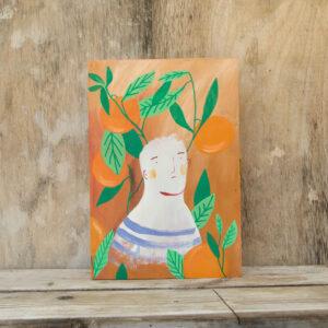 Scatole in legno dipinte arance 1